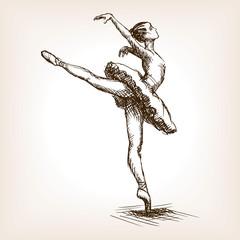 Ballet dancer girl sketch vector