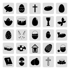 Easter 25 simple icons set