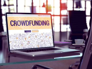Crowdfunding Concept. Closeup Landing Page on Laptop Screen in Doodle Design Style. On Background of Comfortable Working Place in Modern Office. Blurred, Toned Image. 3D Render.