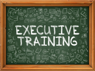 Executive Training - Hand Drawn on Chalkboard. Executive Training with Doodle Icons Around.