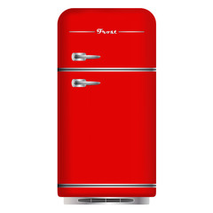 Red retro refrigerator. Isolated on white background. Vector.