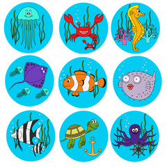Set of cute  sea animals