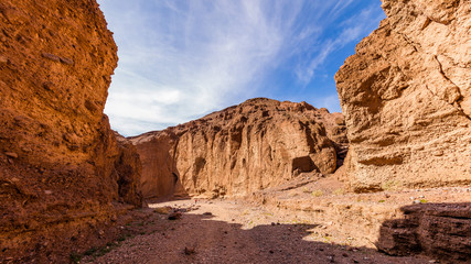 Rocky landscape background. Sandstone formations in Natural bridge canyon trail, Death Valley