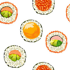 sushi set  on a white background. seamless pattern. vector illustration