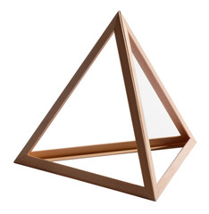 Empty wooden triangle frame on white