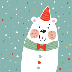 Cute polar bear with party hat and paper. confetti, kids poster or birthday greeting card, vector illustration