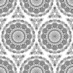 Background seamless pattern with black and white mehndi seamless lace buta decoration items on white background.
