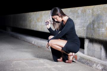 Vestidos negro flujo cruzado