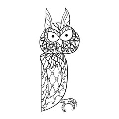 Patterned owl zentangle style