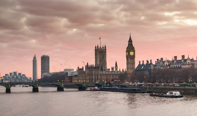 Big Ben and Westminster Bridge at sunset London, UK