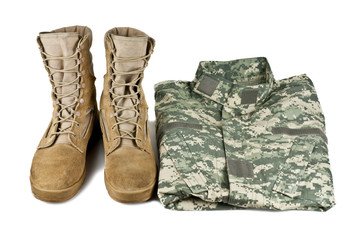 army boots and combat shirt isolated on white background