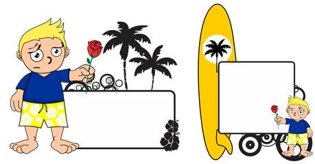 kid surfer expression cartoon copyspace in vector format