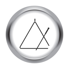 Triangle instrument simple icon on round  background