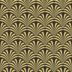 Seamless antique palette black and gold luxury art deco peacock textile pattern vector