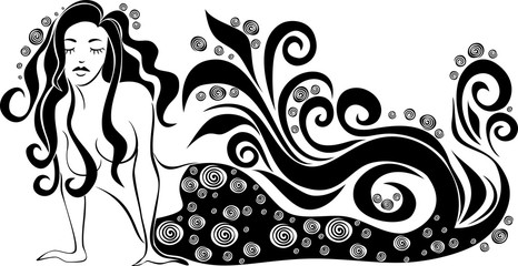 Vector image of a mermaid on an isolated background