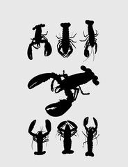 Rock Lobster Silhouettes, art vector design