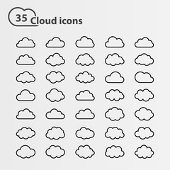 Big vector set of thirty five cloud shape White cloud shape,black line cloud shape,black cloud shape,cloud icons, sign for web and app, for cloud computing and so on, isolated on a white background