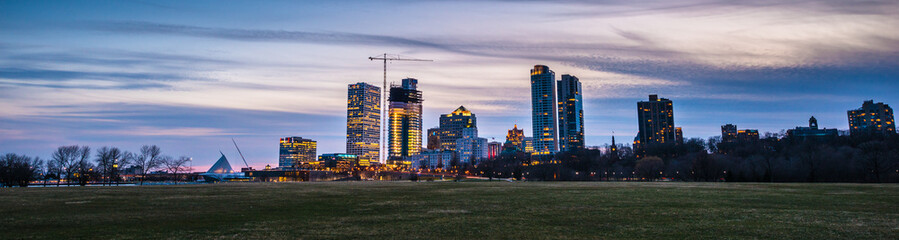 Milwaukee Wisconsin Panoramic shot taken after sunset, twilight