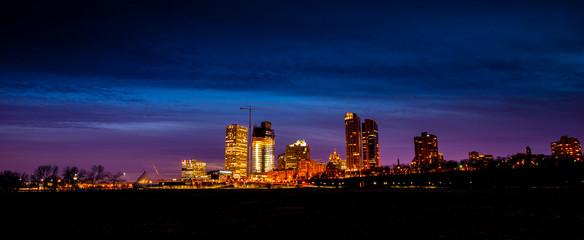 Milwaukee Wisconsin USA downtown panorama at night