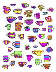 Sketch colorful cups and mugs. Bright dishes for hot and cold drinks.