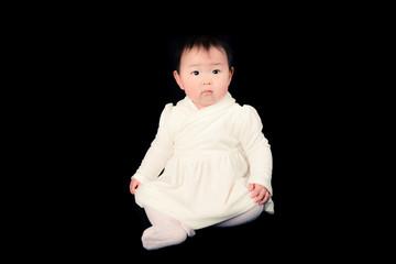 かわいい赤ちゃん,黒背景,無表情