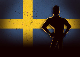 Silhouette Illustration of a Man Standing in Front of Sweden Flag
