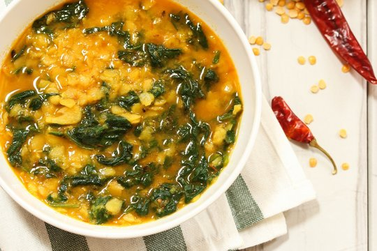 Dal Indian lentil curry soup with spinach