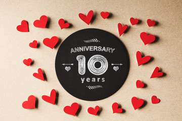 Anniversary 10 years message with small hearts