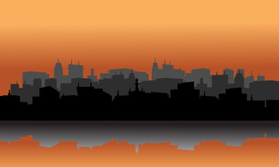 city ​​silhouette reflection of lake