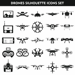 Set icons of  drone isolated on white