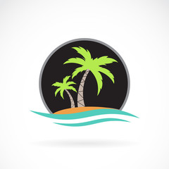 Vector image of an summer logo design on white background