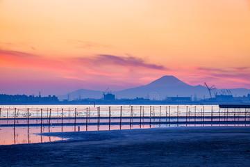 Tokyo bay and Mountain Fuji at beautiful twilight