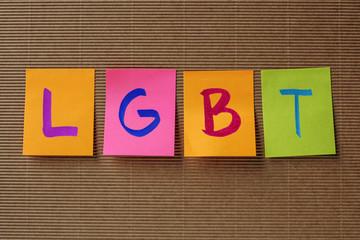 LGBT acronym on colorful sticky notes