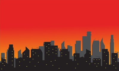 Silhouette of city with red background