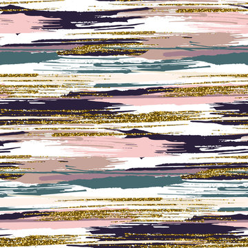 Vector seamless pattern with gold glitter textured brush strokes and stripes