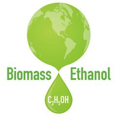 Biofuel: biomass ethanol and earth, vector illustration