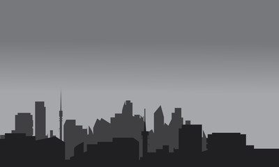 Silhouette of home town with gray color