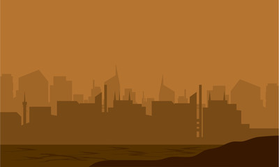 Silhouette of the city in the desert