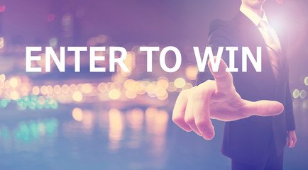 Enter To Win concept with businessman