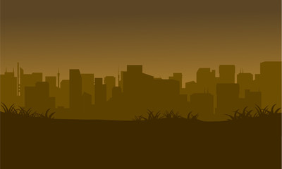 Silhouette of city in the fields