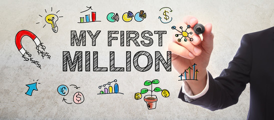 Businessman drawing My First Million concept