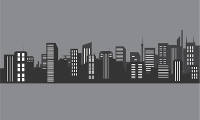 Silhouette of city at night with gray color