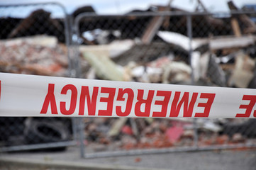 emergency tape after the February 22, 2011 Earthquake in Christchurch, New Zealand