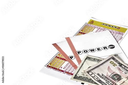 power ball lottery tickets with us flag and currency photo libre de droits sur la banque d. Black Bedroom Furniture Sets. Home Design Ideas