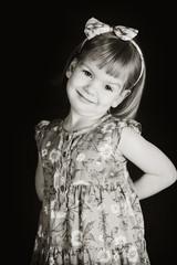 Beautiful girl in floral dress