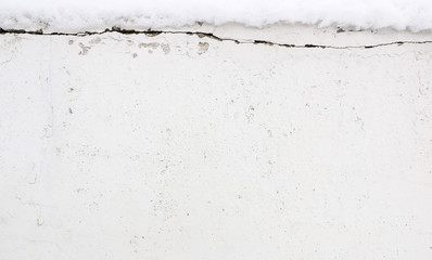 White cement background with snow