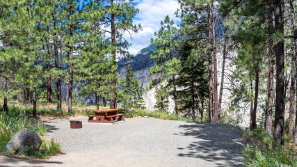 Picnic table in the campground site.