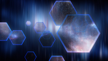 Abstract blue hexagon with space reflection
