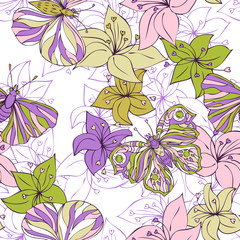 abstract vector seamless pattern with flowers and butterflies