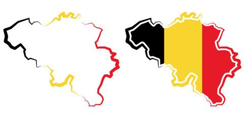 Belgia - mapa konturowa - barwy